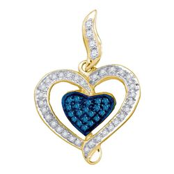 Round Blue Color Enhanced Diamond Heart Pendant 1/4 Cttw 10kt Yellow Gold