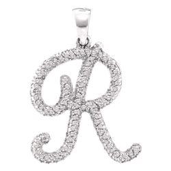 Diamond Cursive Letter R Pendant 1/5 Cttw 10kt White Gold