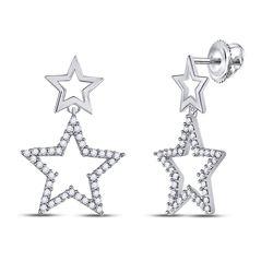 Diamond Double Star Dangle Screwback Earrings 1/4 Cttw 10kt White Gold