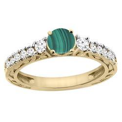 2.53 CTW Malachite & Diamond Ring 14K Yellow Gold - REF-79M2K