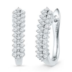 Diamond Oblong Hoop Earrings 1/2 Cttw 10kt White Gold