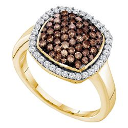 Round Brown Diamond Square Cluster Ring 7/8 Cttw 10kt Yellow Gold