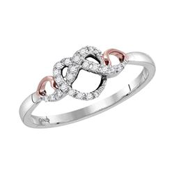Diamond Infinity Knot Heart Ring 1/10 Cttw 10kt Two-tone White Gold