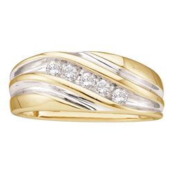 Mens Diamond Wedding Anniversary Band Ring 1/4 Cttw 14kt Yellow Two-tone Gold