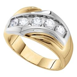 Mens Diamond Single Row Two-tone Large Band Ring 1.00 Cttw 14kt Yellow Gold