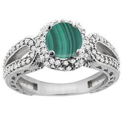 2.68 CTW Malachite & Diamond Ring 14K White Gold - REF-86A2X