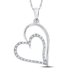 Diamond Heart Pendant 1/8 Cttw 10kt White Gold