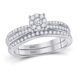Diamond Bridal Wedding Engagement Ring Band Set 1/2 Cttw 10kt White Gold