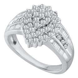 Diamond Oval Cluster Baguette Accent Ring 1.00 Cttw 10kt White Gold