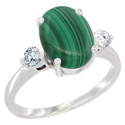 2.95 CTW Malachite & Diamond Ring 14K White Gold - REF-66F8N