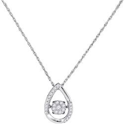 Diamond Teardrop Frame Moving Twinkle Cluster Pendant 1/6 Cttw 10kt White Gold