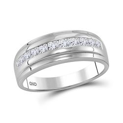 Mens Diamond Single Row Wedding Band Ring 1.00 Cttw 10kt White Gold