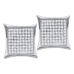 Diamond Square Kite Cluster Stud Earrings 1/10 Cttw 14kt White Gold