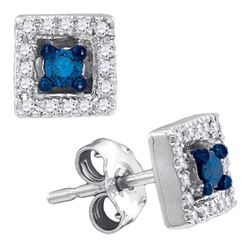 Round Blue Color Enhanced Diamond Square Solitaire Stud Earrings 1/5 Cttw 10kt White Gold