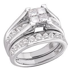 Invisible-set Diamond Bridal Wedding Engagement Ring Set 1/2 Cttw 10k White Gold