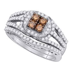 Round Brown Diamond Bridal Wedding Engagement Ring Band Set 1 Cttw 10kt White Gold