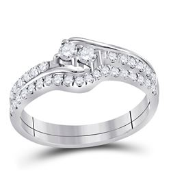 Diamond 2-stone Bridal Wedding Engagement Ring Band Set 1/2 Cttw 10kt White Gold