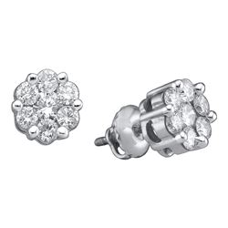 Diamond Flower Cluster Stud Earrings 1.00 Cttw 14k White Gold
