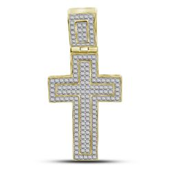 Mens Diamond Roman Cross Charm Pendant 1/2 Cttw 10kt Yellow Gold