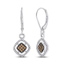 Round Brown Diamond Diagonal Square Dangle Earrings 1/3 Cttw 10kt White Gold