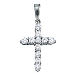 Diamond Cross Religious Pendant 1/4 Cttw 14kt White Gold
