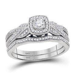 Diamond Milgrain Bridal Wedding Engagement Ring Band Set 3/8 Cttw 10kt White Gold
