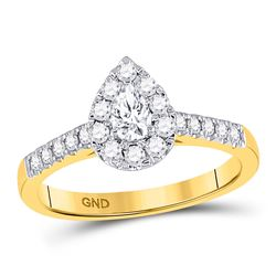 Pear Diamond Solitaire Bridal Wedding Engagement Ring 1/2 Cttw 14kt Yellow Gold