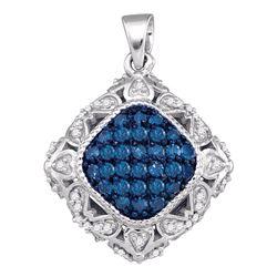 Round Blue Color Enhanced Diamond Square Pendant 1/4 Cttw 10kt White Gold