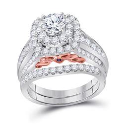 Diamond Bridal Wedding Engagement Ring Band Set 2.00 Cttw 14kt Two-tone Gold