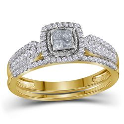 Diamond Halo Bridal Wedding Engagement Ring Band Set 1/2 Cttw 14kt Yellow Gold