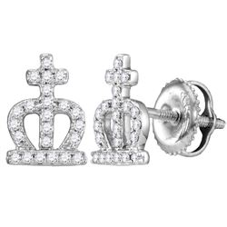 Diamond Crown Cross Stud Earrings 1/5 Cttw 14kt White Gold