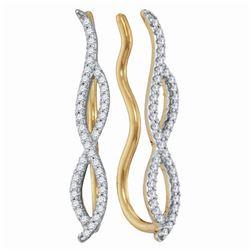 Diamond Infinity Climber Earrings 1/4 Cttw 10kt Yellow Gold