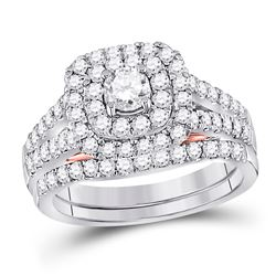 Diamond Bridal Wedding Engagement Ring Band Set 1-1/4 Cttw 14kt Two-tone Gold