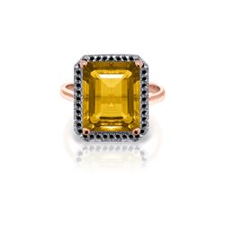 Genuine 5.8 ctw Citrine & Black Diamond Ring 14KT Rose Gold - REF-79R8P