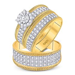 His & Hers Diamond Solitaire Wheat Matching Bridal Wedding Ring Set 7/8 Cttw 10kt Yellow Gold