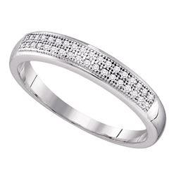 Diamond Double Row Wedding Band 1/10 Cttw 10kt White Gold
