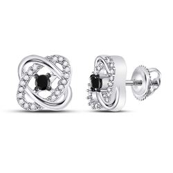 Round Black Color Enhanced Diamond Solitaire Oval Frame Earrings 1/4 Cttw 10kt White Gold