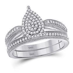 Diamond Teardrop Bridal Wedding Engagement Ring Band Set 1/3 Cttw 10kt White Gold