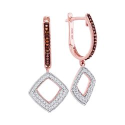 Round Red Color Enhanced Diamond Square Dangle Hoop Earrings 3/8 Cttw 10kt Rose Gold