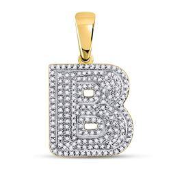 Mens Diamond Letter B Bubble Initial Charm Pendant 1/2 Cttw 10kt Yellow Gold