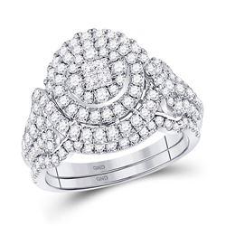 Diamond Bridal Wedding Engagement Ring Band Set 1-1/4 Cttw 14kt White Gold