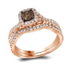 Round Brown Diamond Bridal Wedding Engagement Ring Band Set 1Cttw 14kt Rose Gold