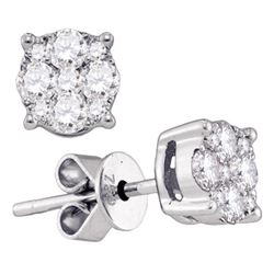 Diamond Cluster Stud Earrings 1-3/8 Cttw 18kt White Gold