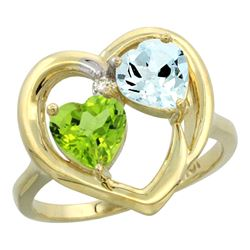2.61 CTW Diamond, Peridot & Aquamarine Ring 10K Yellow Gold - REF-27W9F
