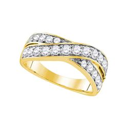Diamond Double Row Crossover Band 1.00 Cttw 14kt Yellow Gold