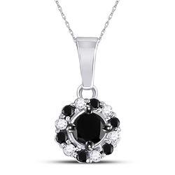 Round Black Color Enhanced Diamond Cluster Pendant 1/2 Cttw 10kt White Gold