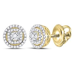 Diamond Circle Frame Stud Earrings 1/4 Cttw 14kt Yellow Gold