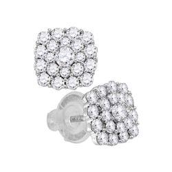 Diamond Cluster Earrings 1.00 Cttw 14kt White Gold