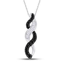 Round Black Color Enhanced Diamond Woven Infinity Pendant 1/3 Cttw 14kt White Gold