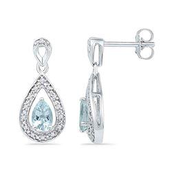 Diamond & Lab-Created Aquamarine Teardrop Dangle Screwback Earrings 5/8 Cttw 10k White Gold